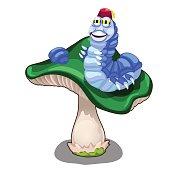 Cheerful blue worm character on green mushroom