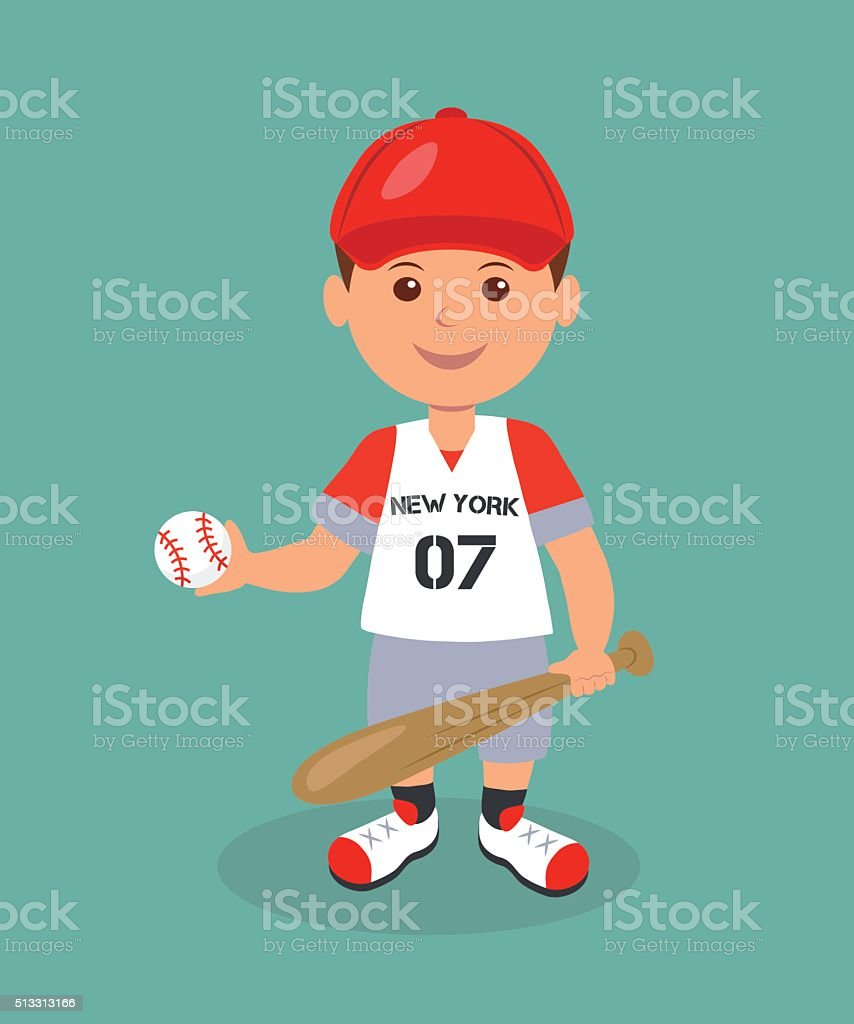 Cheerful boy baseball player with bat and ball vector art illustration