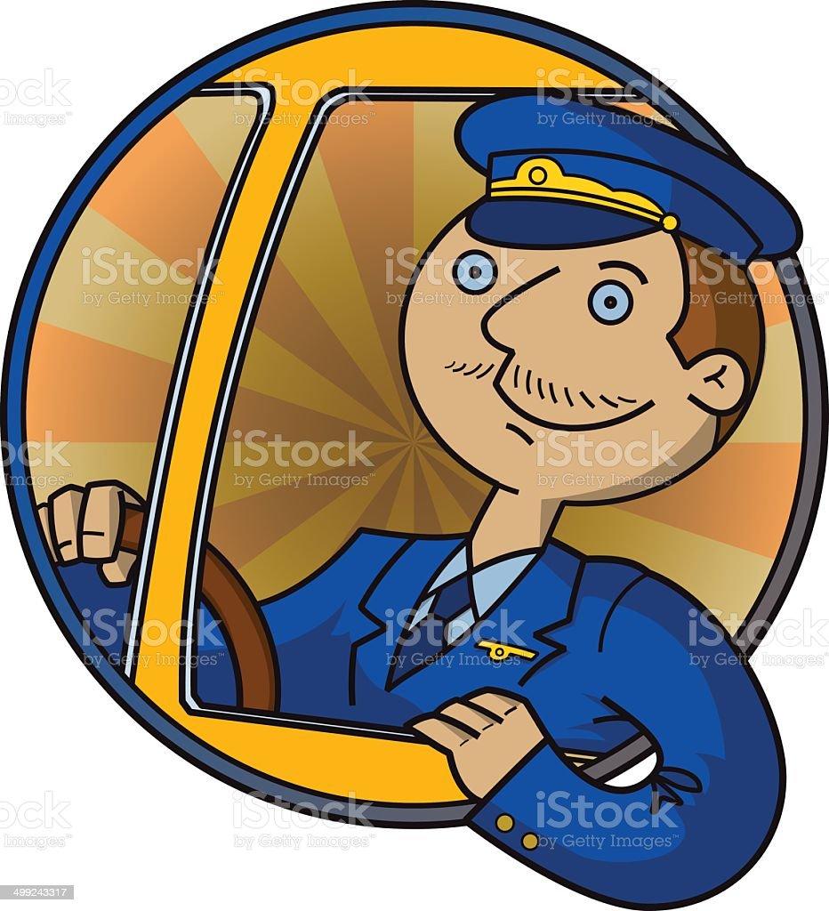 Cheerful bus driver vector art illustration
