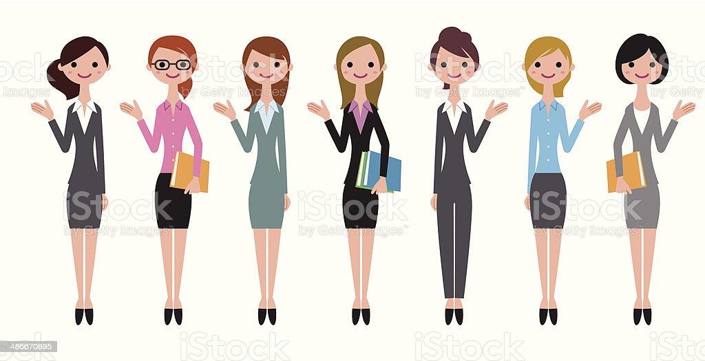 Cheerful business women vector art illustration