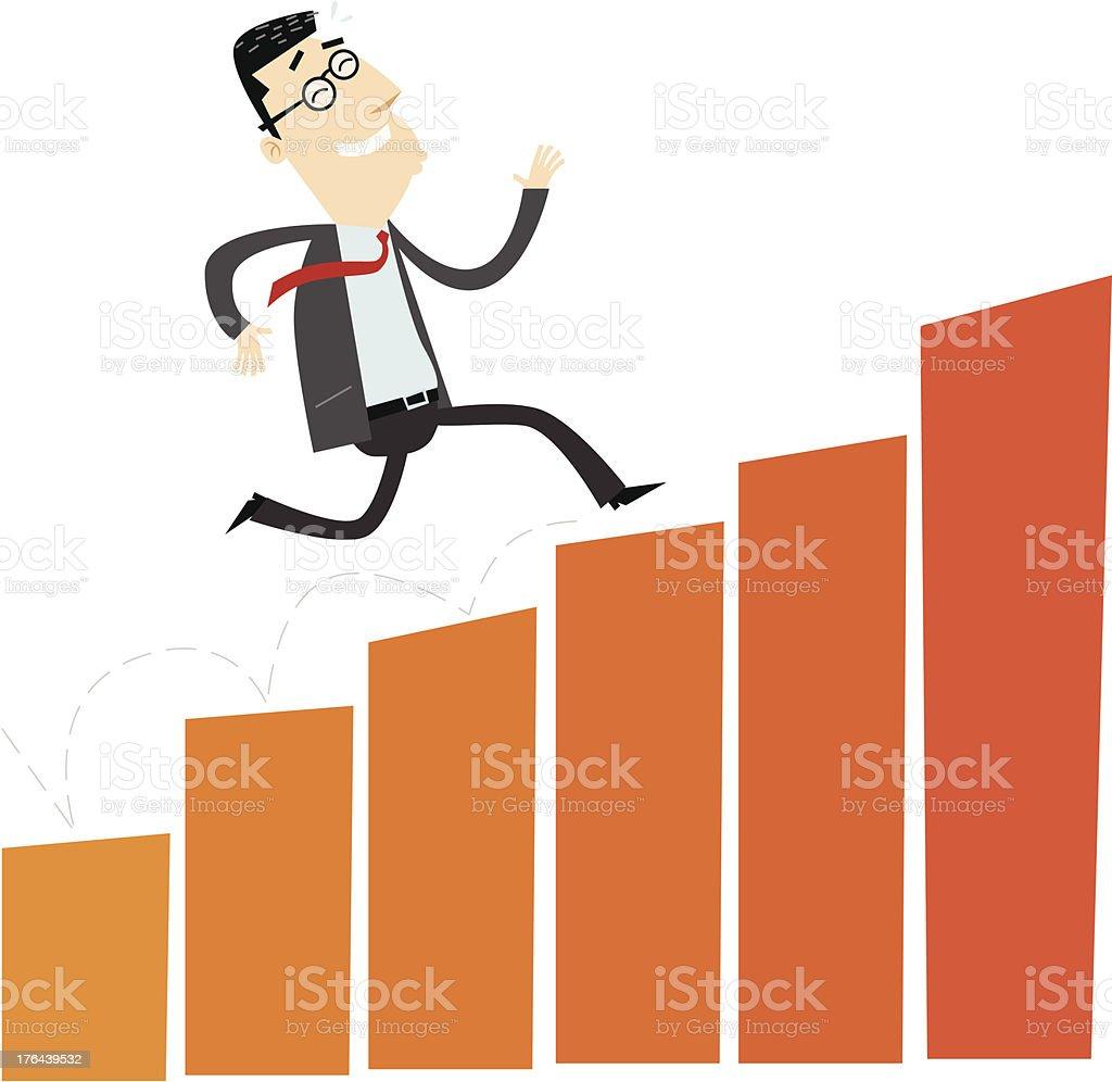 Cheerful businessman climbing a bar chart royalty-free stock vector art
