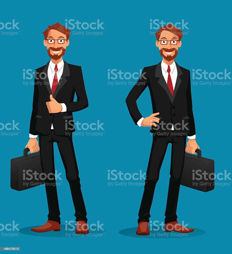 Cheerful businessman holding a briefcase with thumbs up vector art illustration