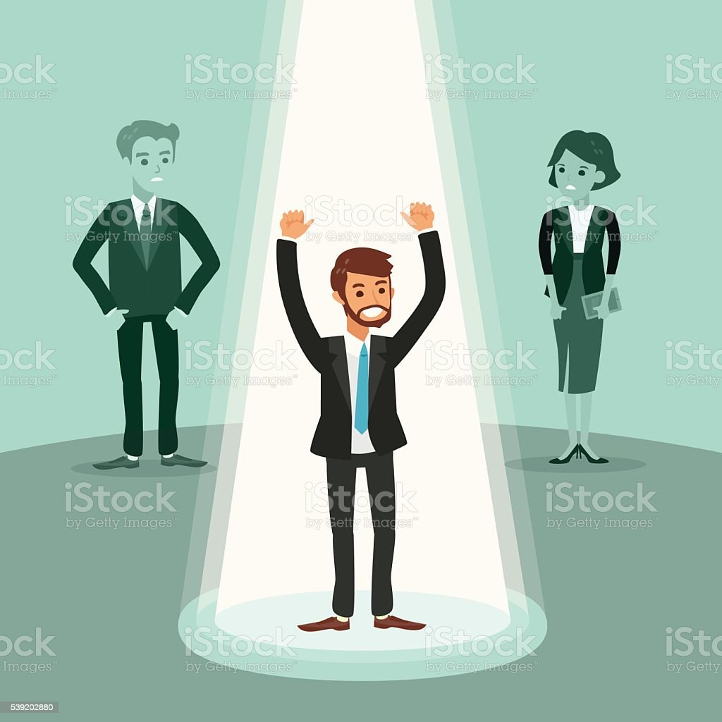 cheerful businessman with arms up under spotlight vector art illustration