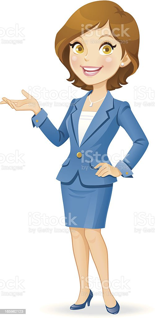 Cheerful Businesswoman vector art illustration