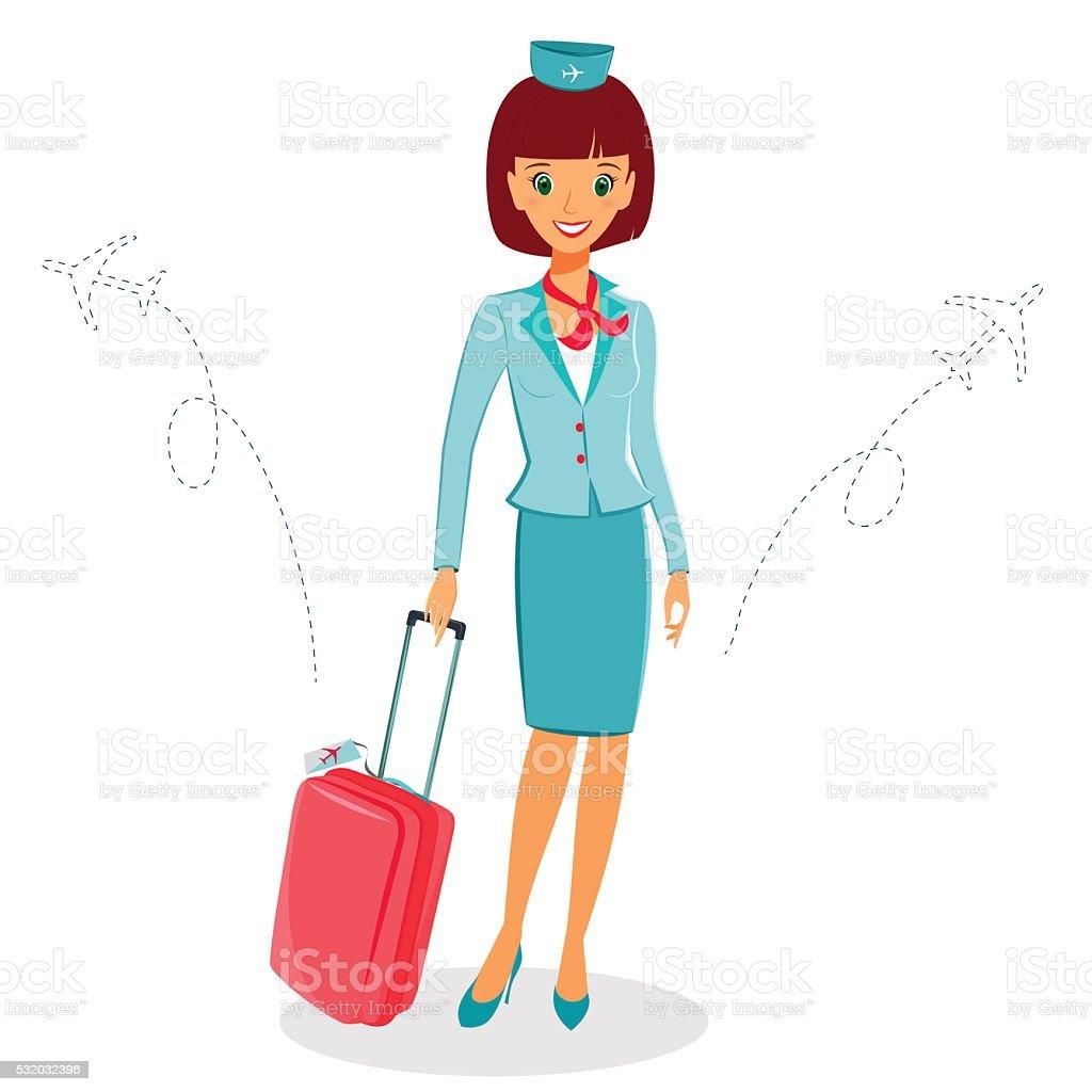 Cheerful cartoon flight attendant in uniform with suitcase vector art illustration