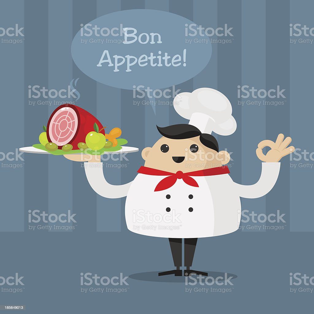 Cheerful chef holding a platter royalty-free stock vector art