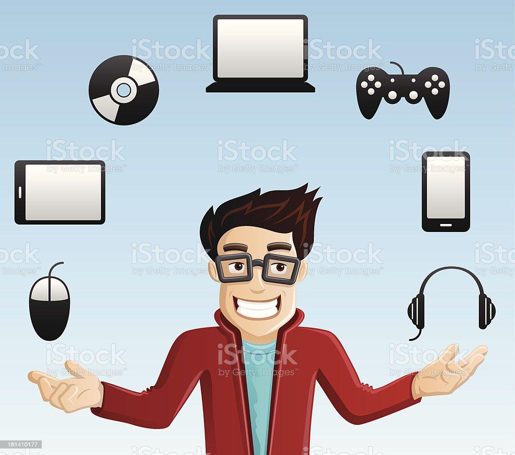 Cheerful Computer Geek - Juggling Gadgets royalty-free stock vector art