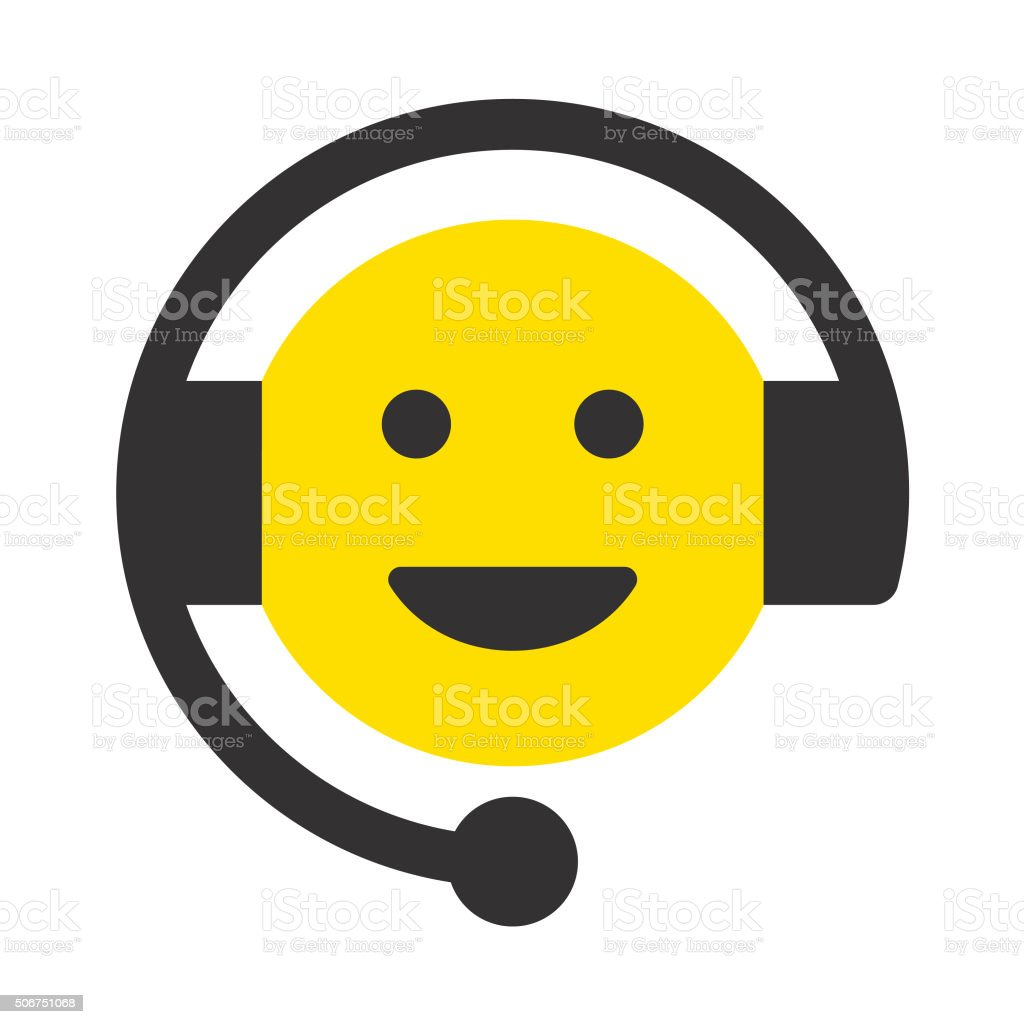 Cheerful Customer Service Representative vector art illustration