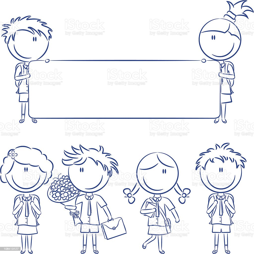 Cheerful cute school kids with empty banner, flowers and books royalty-free stock vector art