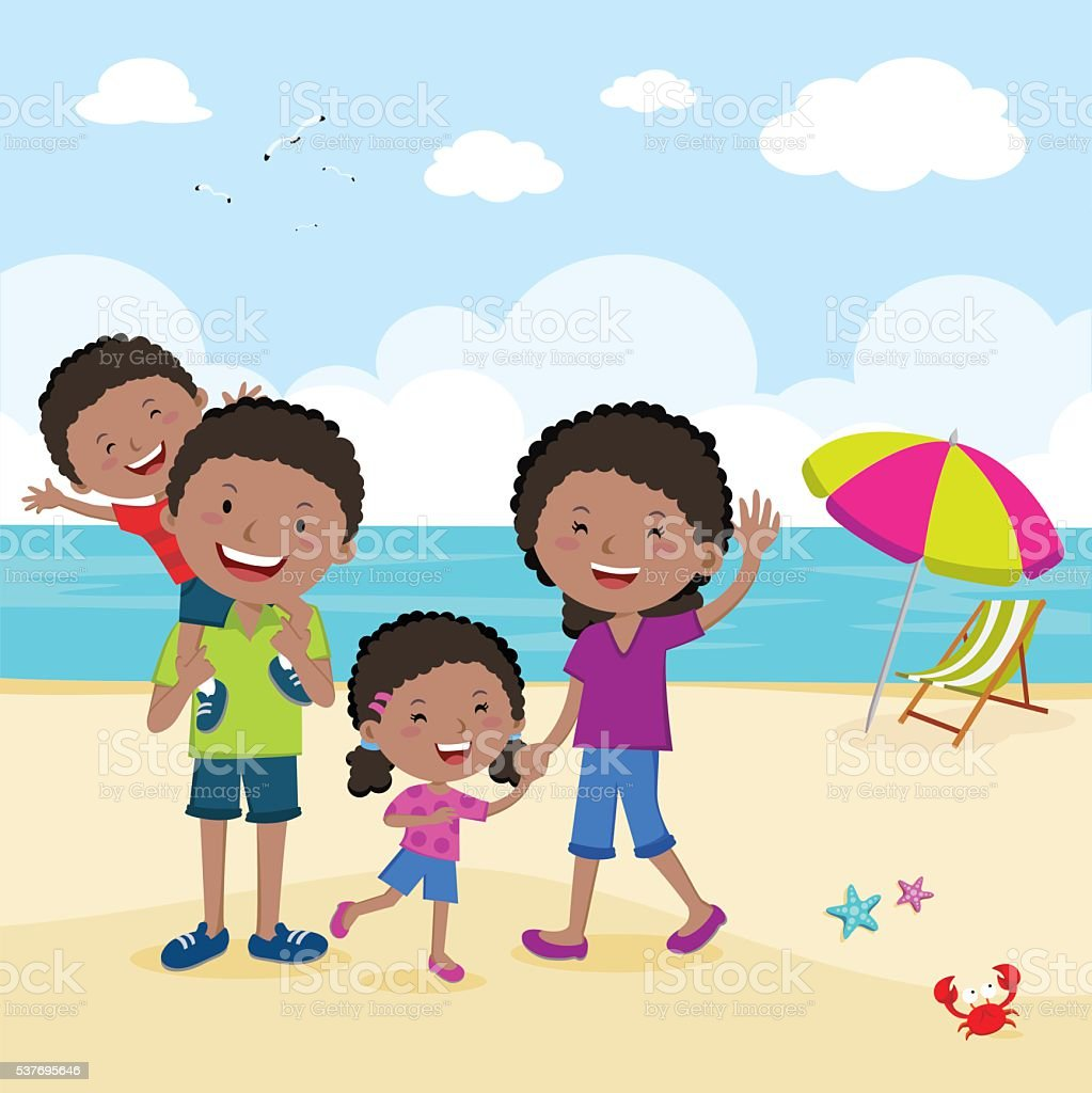 Cheerful family at the beach vector art illustration