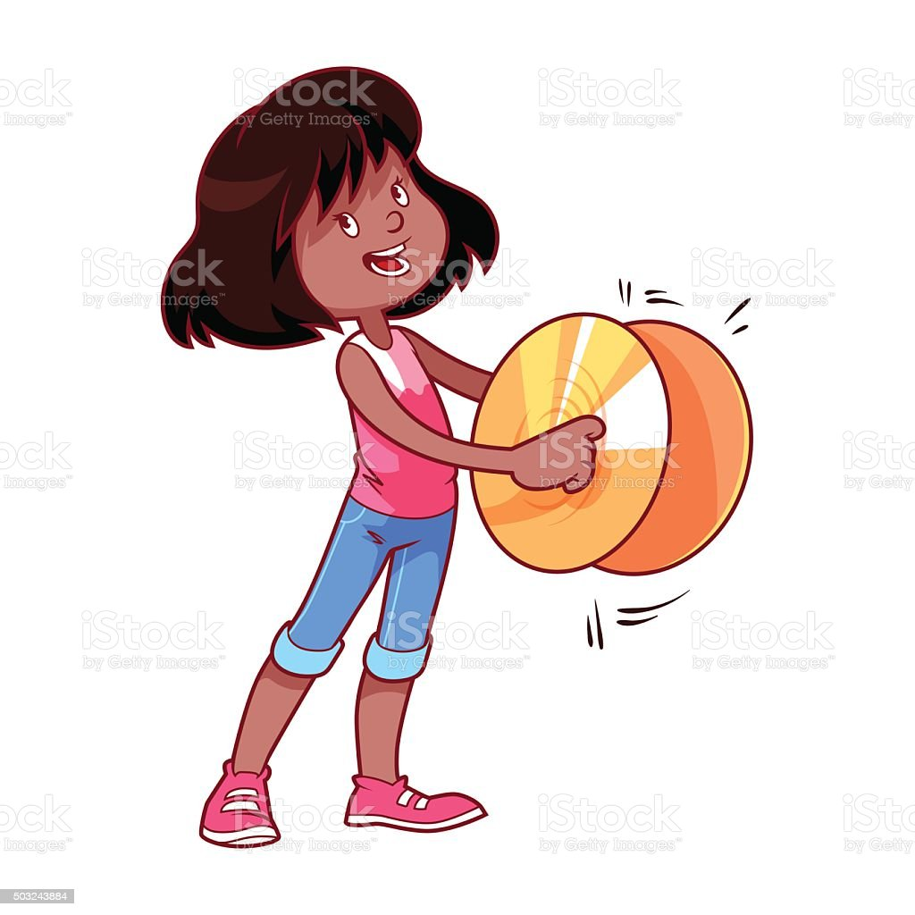 Cheerful girl playing on the cymbals vector art illustration