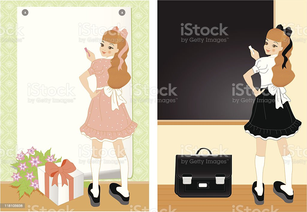 cheerful girl royalty-free stock vector art