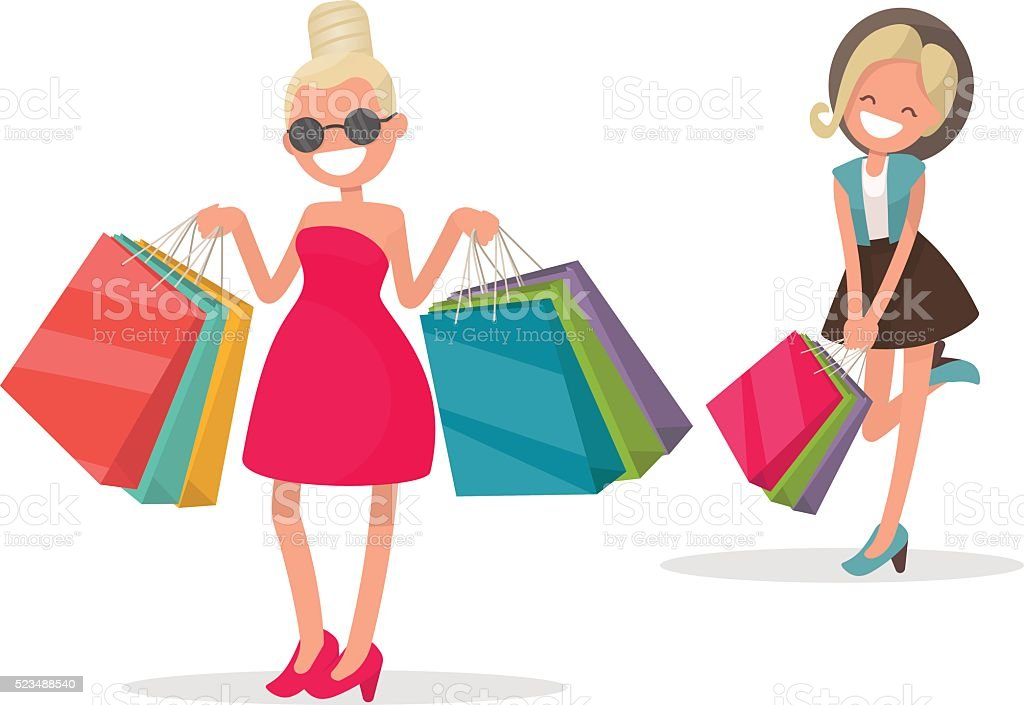 Cheerful girl with shopping. Fashionista vector art illustration