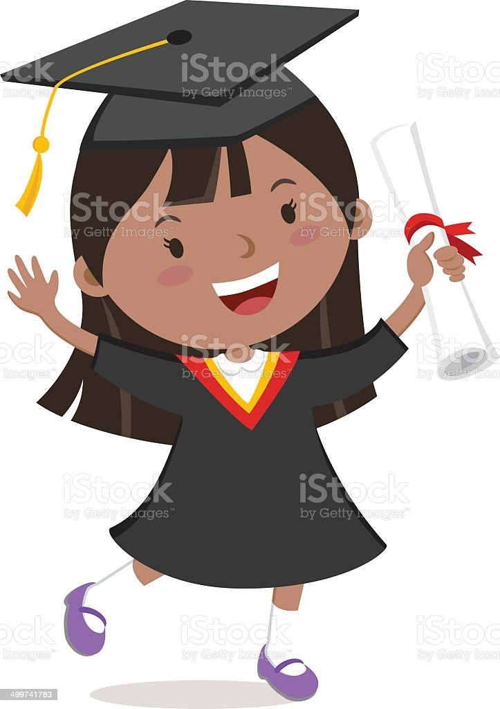 Cheerful graduation girl vector art illustration