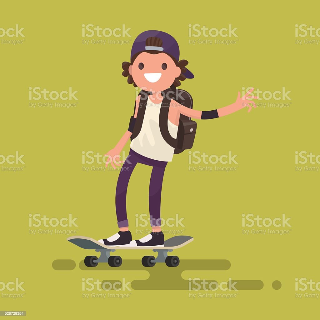Cheerful guy riding a skateboard. Vector illustration vector art illustration