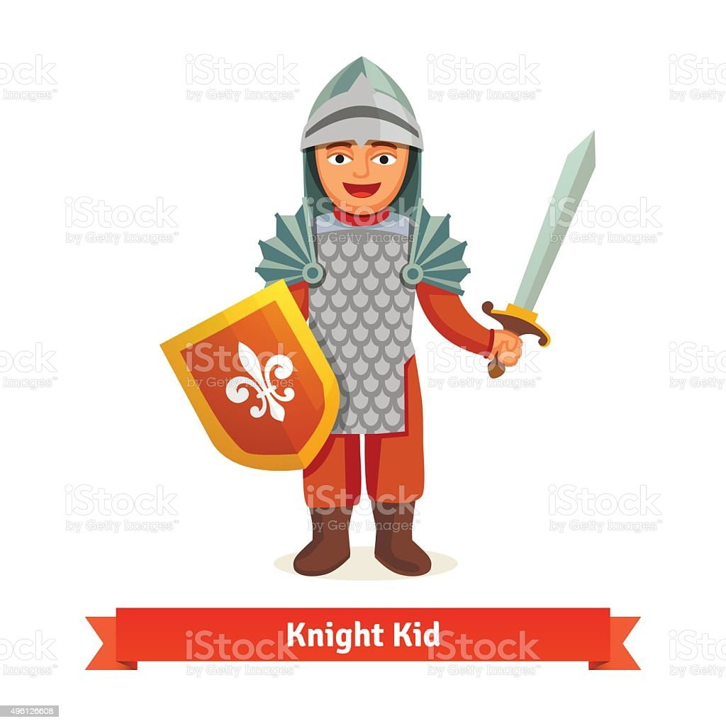 Cheerful kid in knights armour with helmet vector art illustration