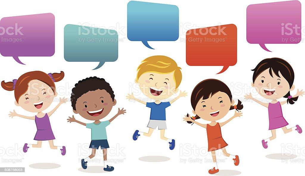 Cheerful kids vector art illustration