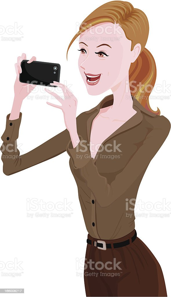 Cheerful lady using smartphone royalty-free stock vector art