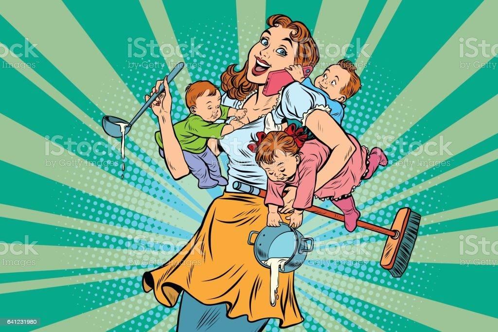 Cheerful mother with three children vector art illustration