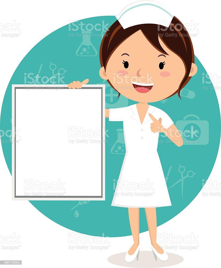 Cheerful nurse with board vector art illustration