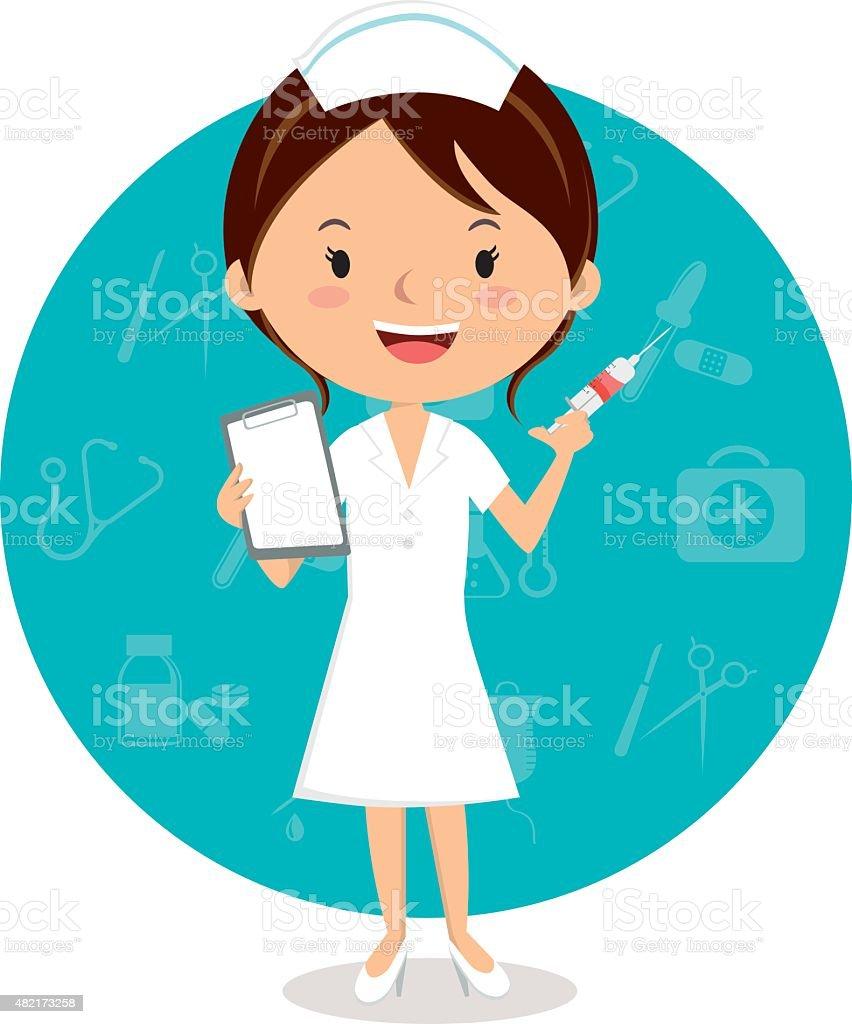 Cheerful nurse with injection syringe vector art illustration