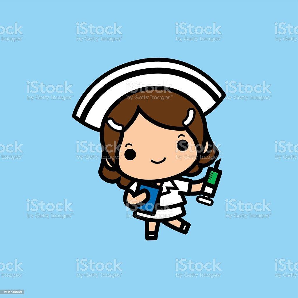 Cheerful nurse with injection syringe. vector art illustration
