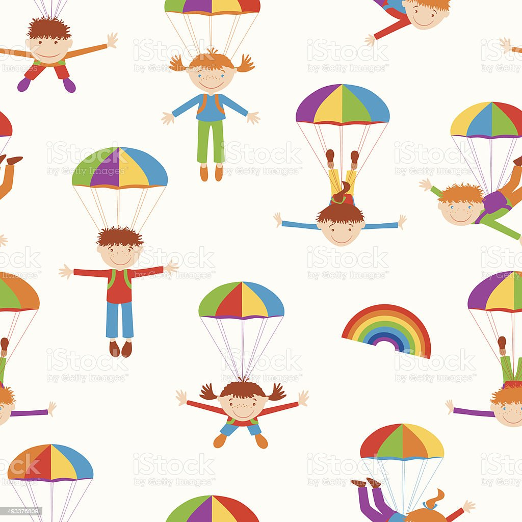 cheerful parachutists royalty-free stock vector art