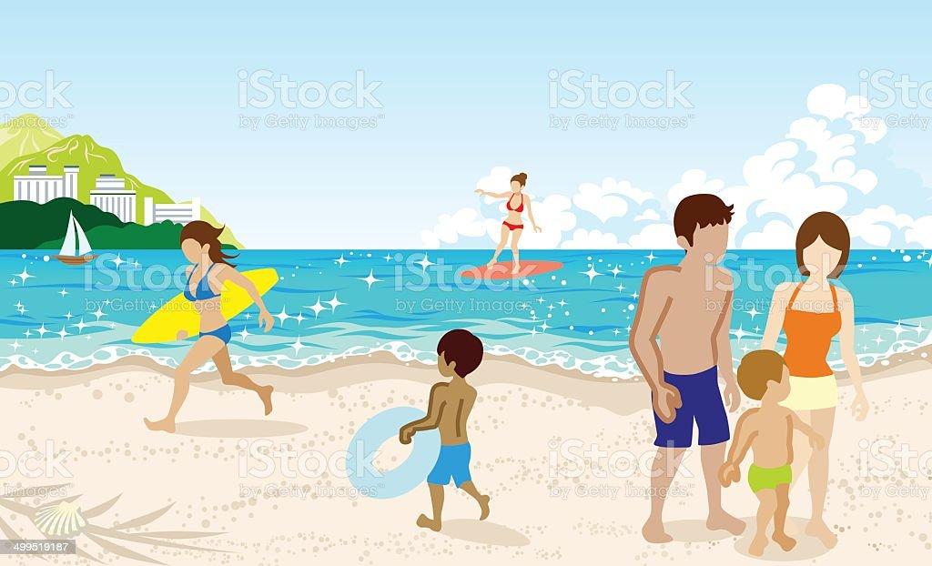Cheerful People in Summer beach royalty-free stock vector art