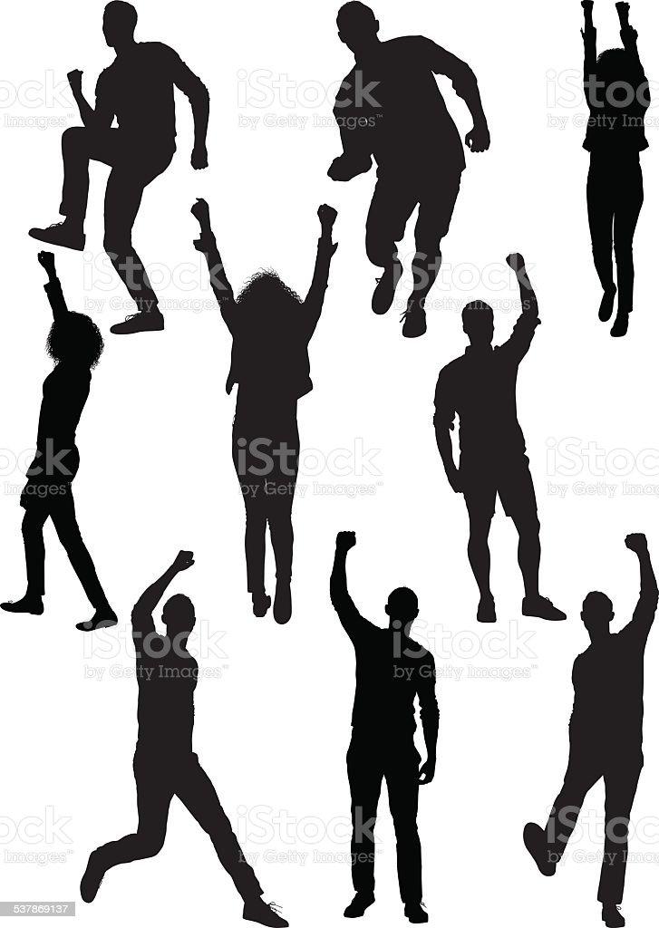 Cheerful people vector art illustration