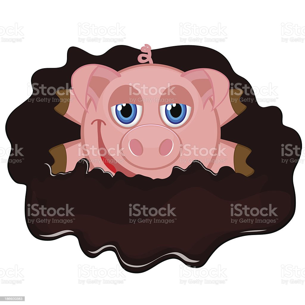cheerful piggy in muddy puddle royalty-free stock vector art
