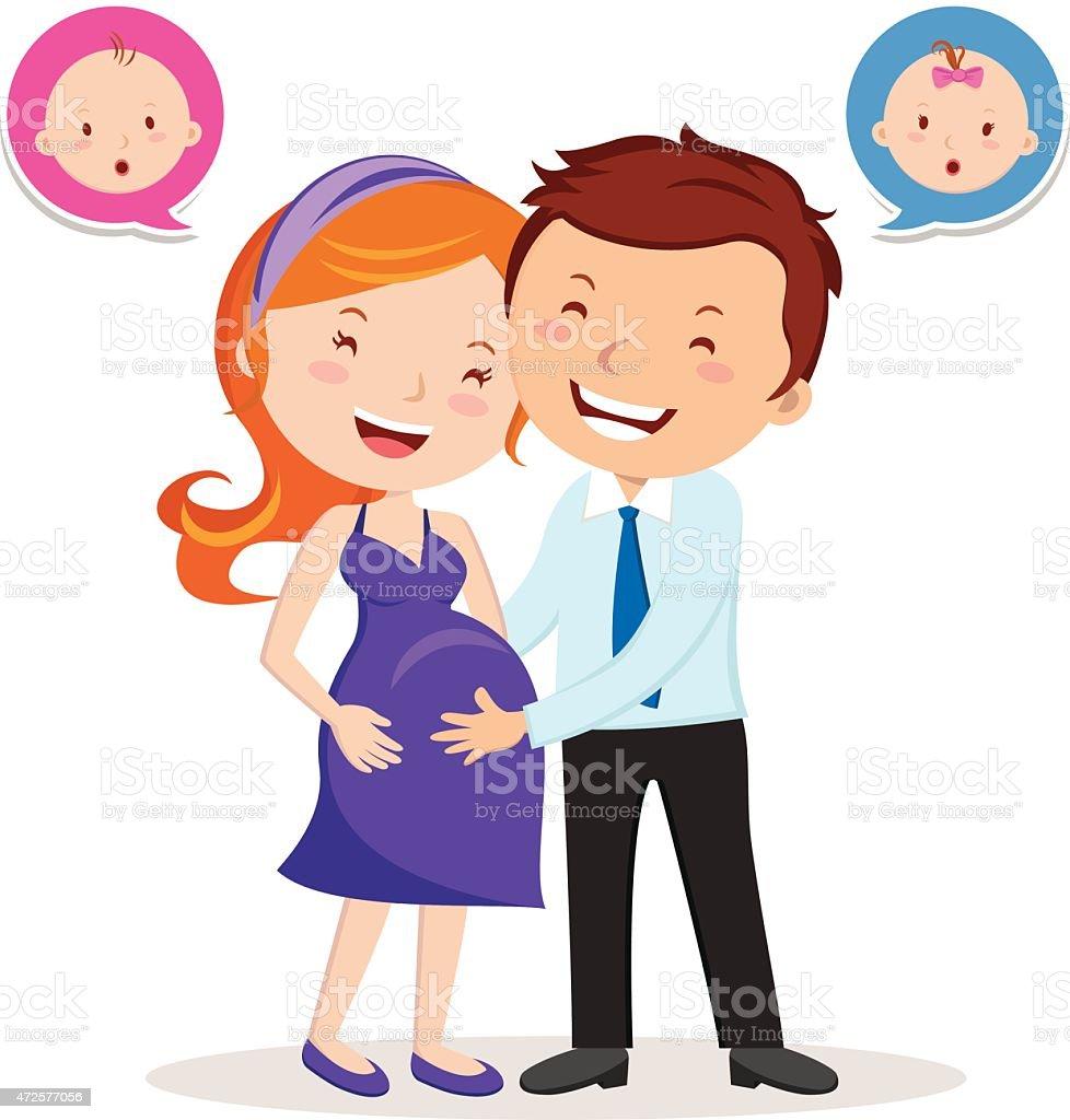 Cheerful pregnant couple. vector art illustration
