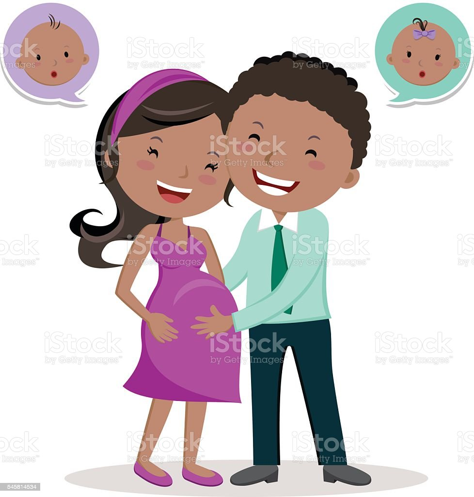 Cheerful pregnant young couple vector art illustration