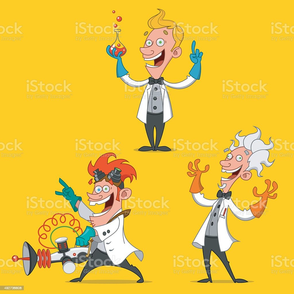 cheerful scientists. vector art illustration