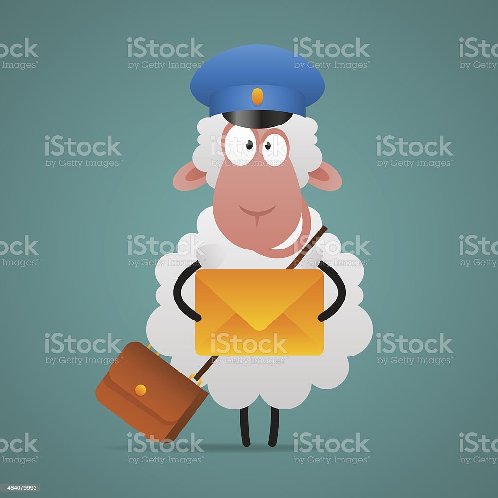 Cheerful sheep mailman holds letter royalty-free stock vector art