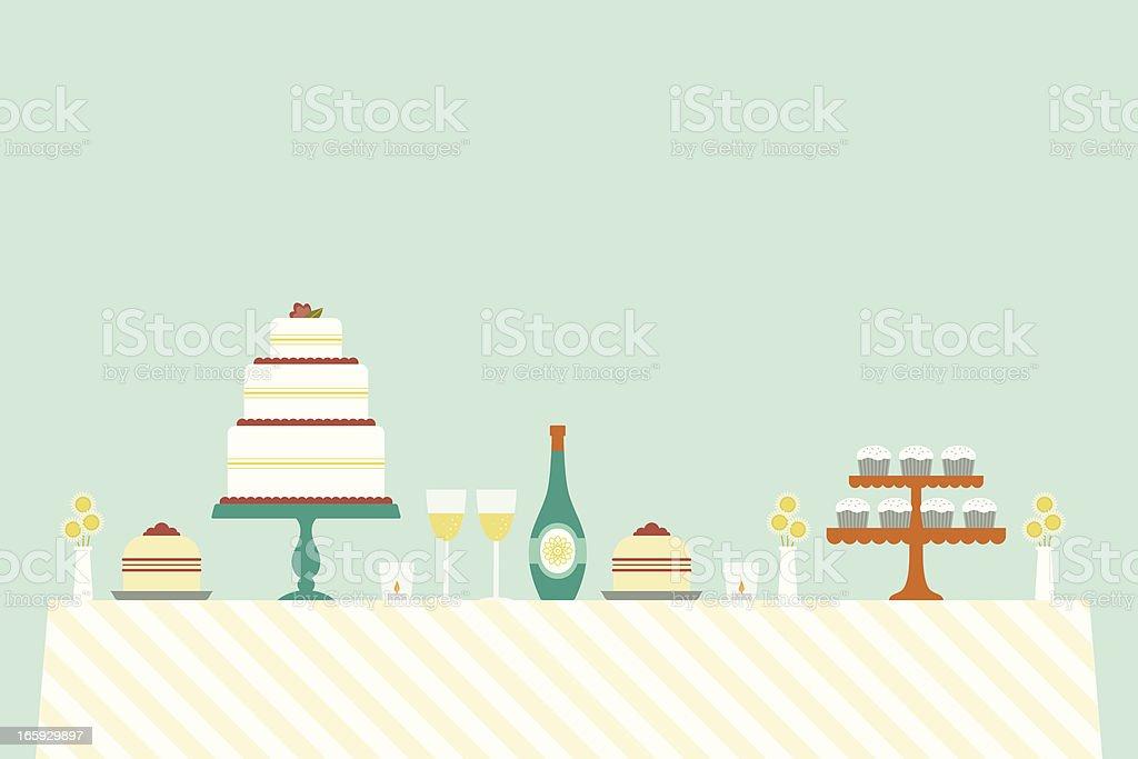 Cheerful Wedding Day Table vector art illustration