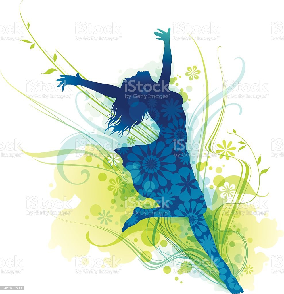 Cheerful Young Woman Silhouette Jumping For Joy vector art illustration