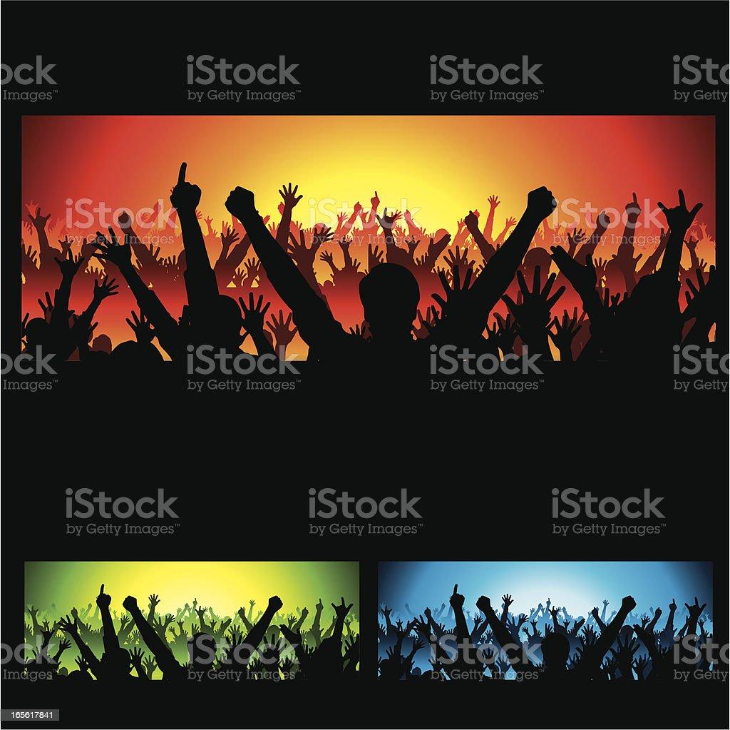 Cheering Concert Crowd vector art illustration