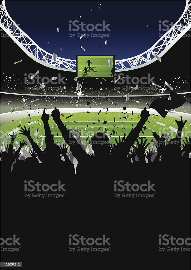 Cheering Crowd in Soccer Stadium at Night vector art illustration