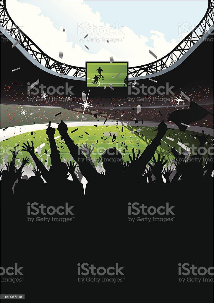 Cheering Crowd in Soccer Stadium royalty-free stock vector art