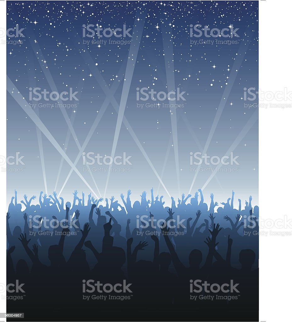 Cheering Crowd Under Stars vector art illustration