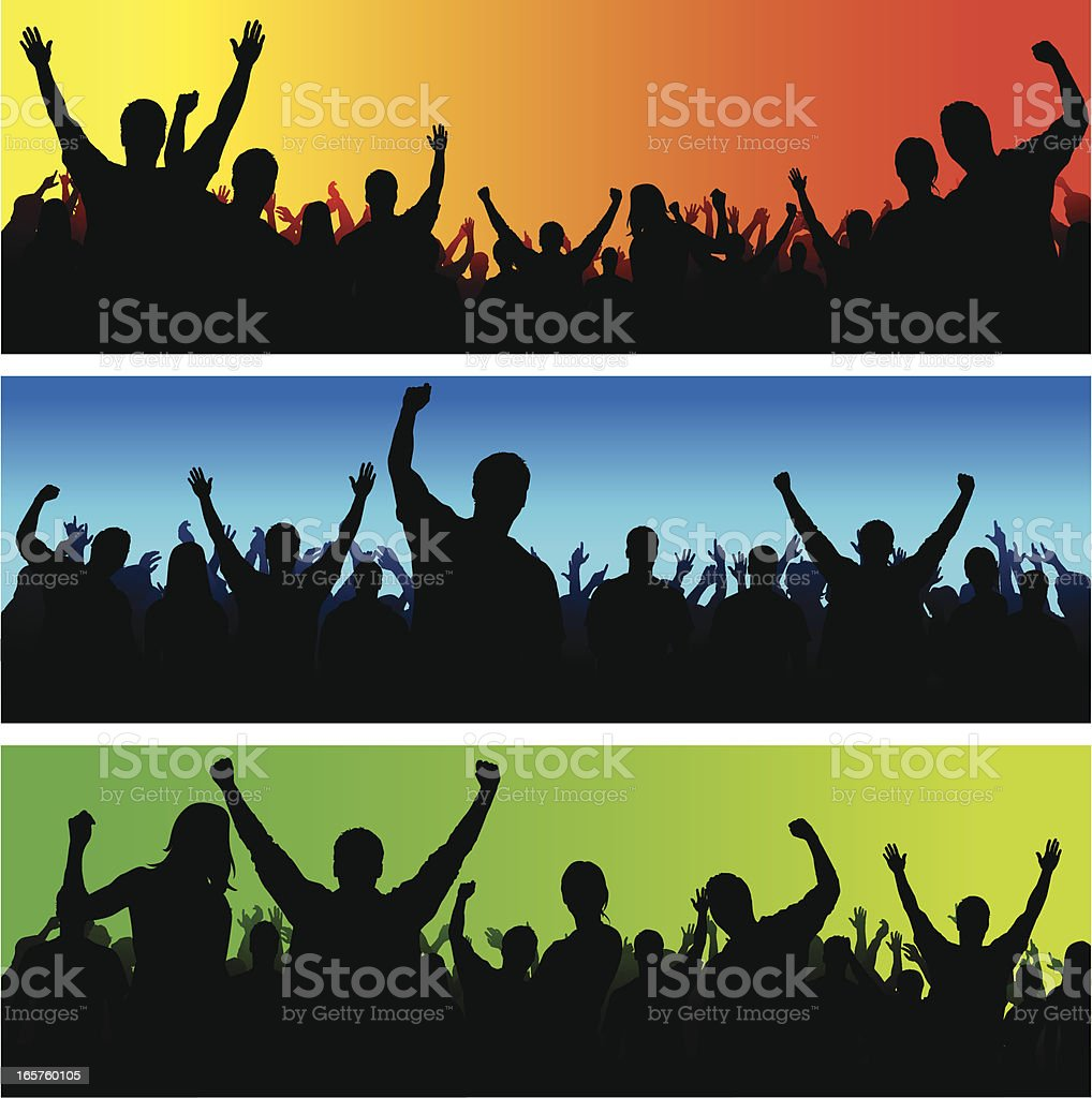 Cheering crowd vector art illustration