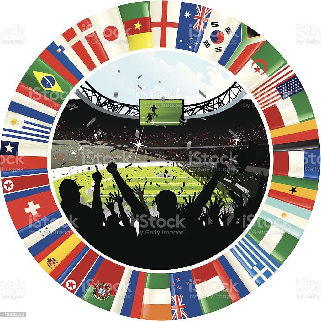 Cheering Soccer Crowd Surrounded By Ring of World Flags vector art illustration