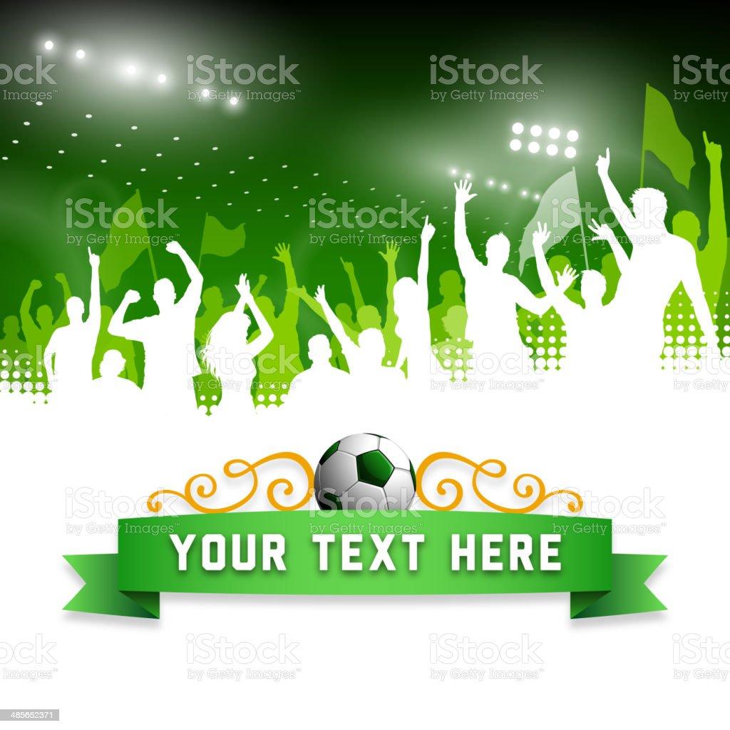 Cheering Soccer Fans Banner vector art illustration
