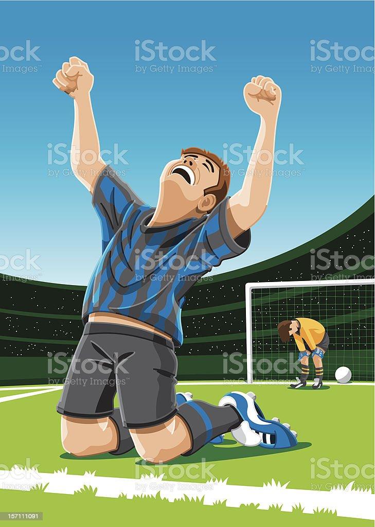 Cheering Soccer Player After Scoring Goal vector art illustration