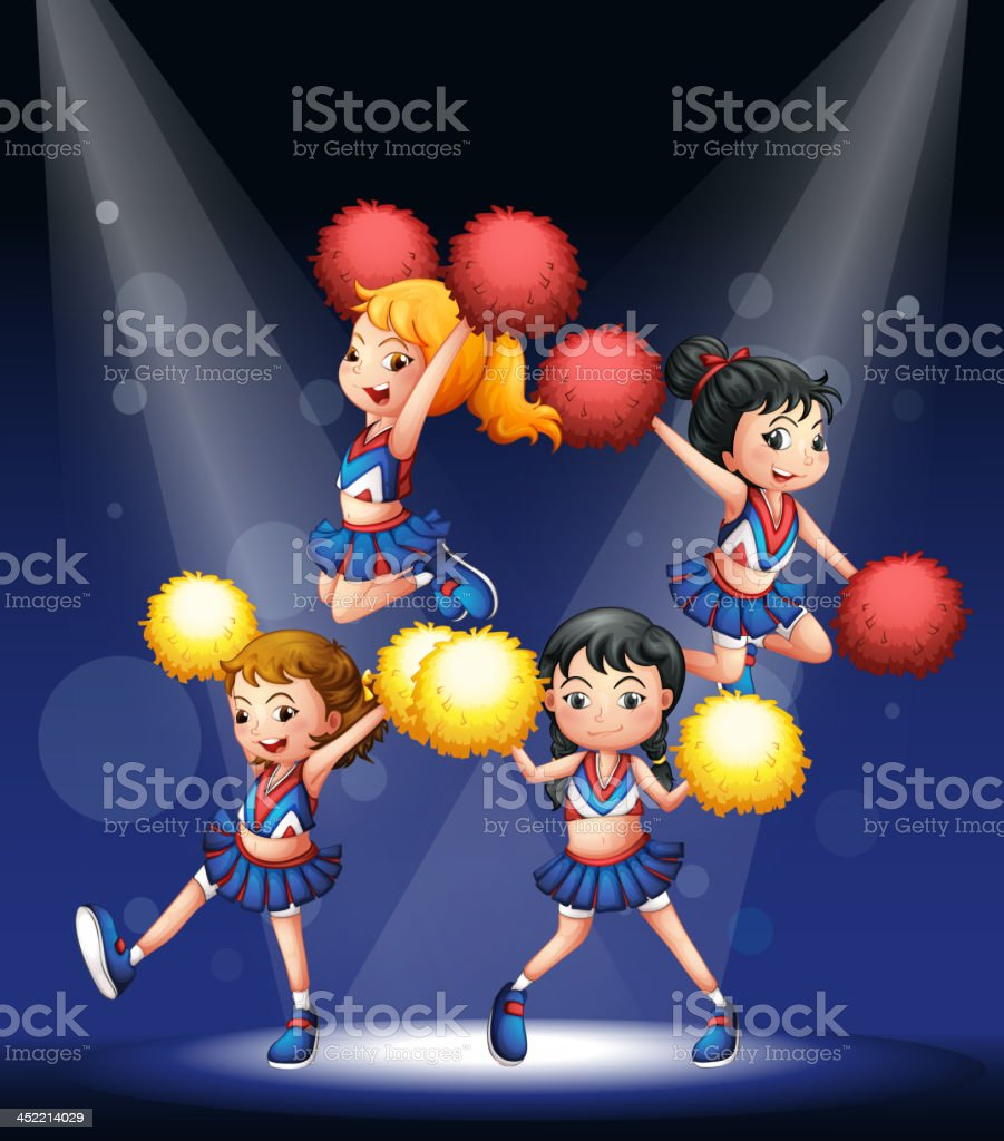 cheering squad with red and yellow pompoms royalty-free stock vector art