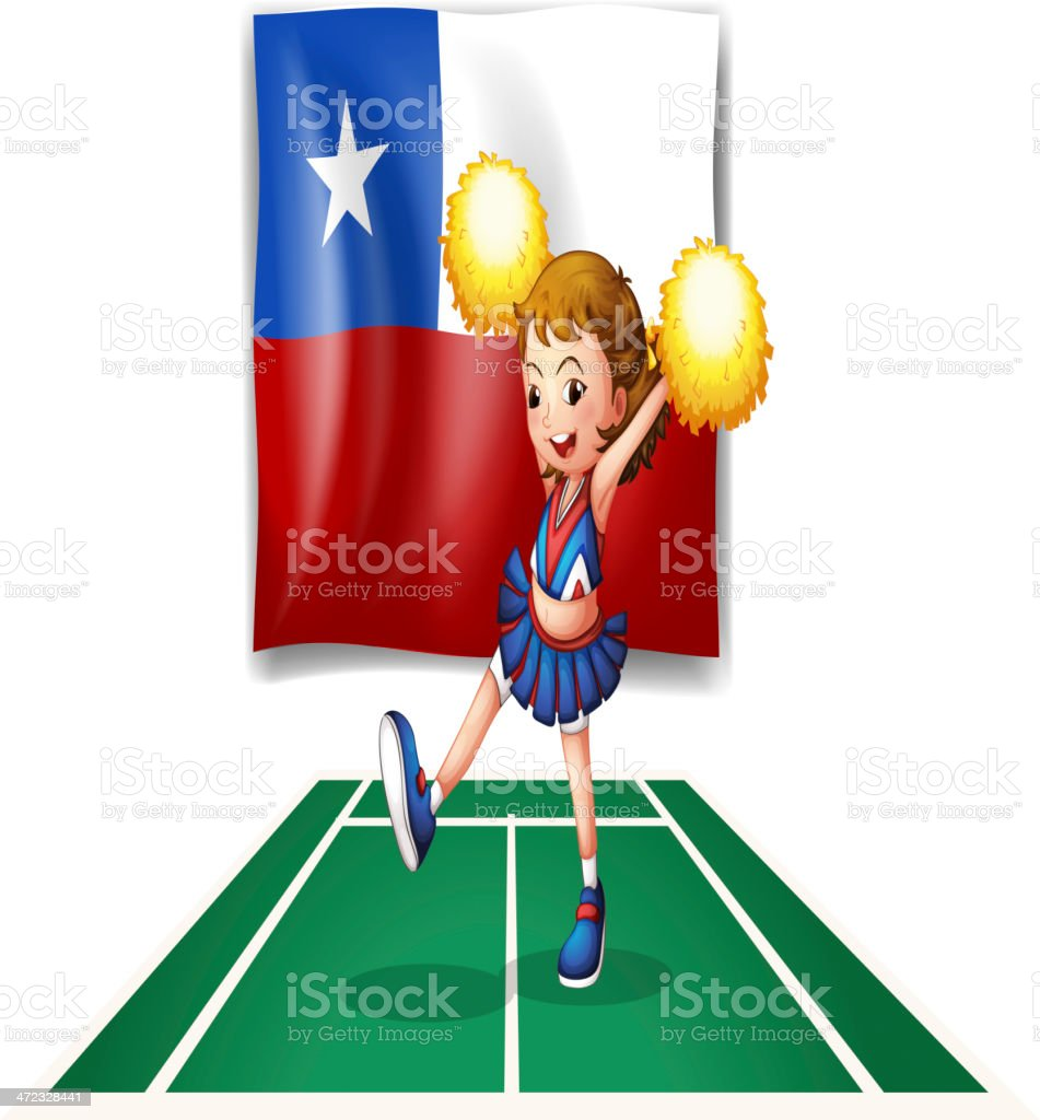 Cheerleader dancing in front of the Chile flag royalty-free stock vector art