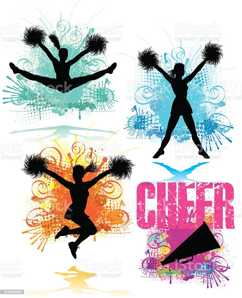 Cheerleader Design Elements vector art illustration