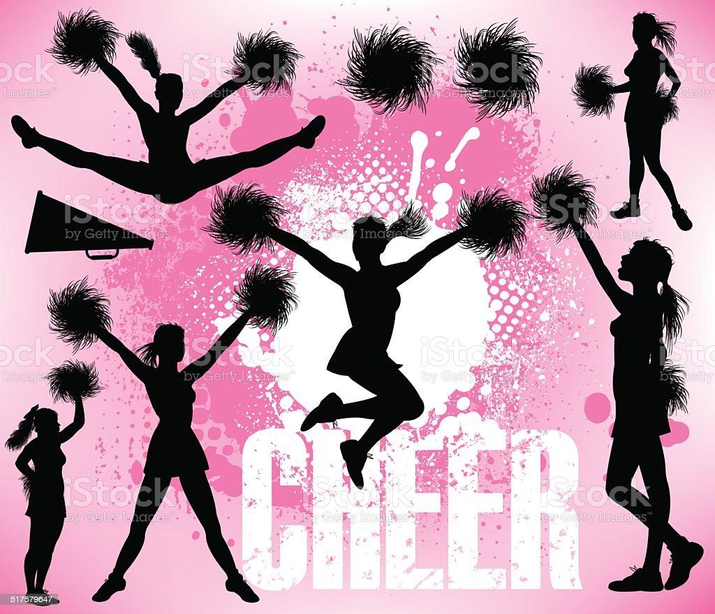 Cheerleader - Girls vector art illustration