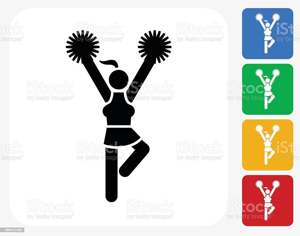 Cheerleader Icon Flat Graphic Design vector art illustration