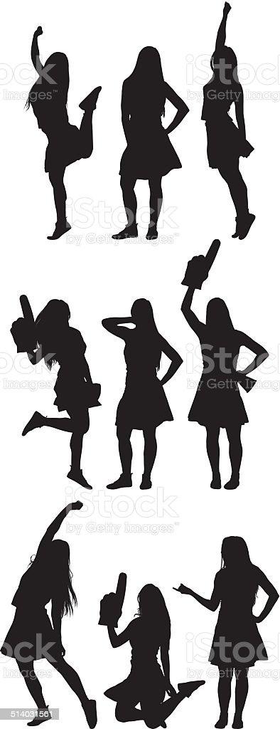 Cheerleader in various actions vector art illustration